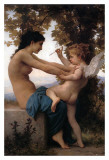 Flicka försvarar sig mot kärleken Poster av William Adolphe Bouguereau