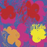 Flores, 1970 (rojo, amarillo, naranja sobre azul) Lámina por Andy Warhol