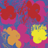 Flowers, 1970 (Red, Yellow, Orange on Blue) Print by Andy Warhol