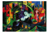 Abstract with Cattle Poster par Franz Marc
