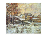 Snow Effect, Sunset Posters by Claude Monet