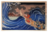 Nichiren Calms a Storm in Kakuda Print by Kuniyoshi 