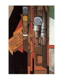 Glasses, Newspaper, and Bottle of Wine Prints by Juan Gris