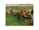 The Race Course: Amateur Jockeys near a Carriage, c.1876-1887 Art by Edgar Degas