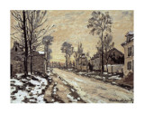 Road at Louveciennes, Melting Snow, Sunset Poster von Claude Monet