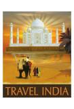 Voyagez en Inde - Affiche de voyage vintage Poster par Kem Mcnair