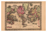 Map of the World, c.1867 Prints