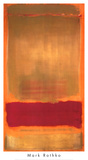 Zonder titel, ca.1949, rood/oranje balk op geel vlak Affiches van Mark Rothko