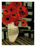 Poppies on Table with Chairs Posters par Karen Tusinski