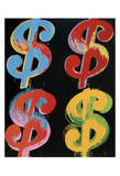 Four Dollar Signs, c.1982 (blue, red, orange, yellow) Kunst af Andy Warhol