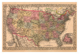 Map of the United States, c.1867 Poster