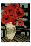 Poppies on Table with Chairs Prints by Karen Tusinski