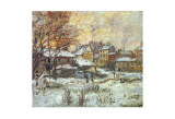 Snow Effect, Sunset Affiches par Claude Monet