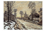 Road at Louveciennes, Melting Snow, Sunset Art by Claude Monet