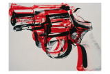 Gun, circa 1981-82, black and red on white Poster di Andy Warhol