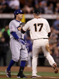 Texas Rangers v San Francisco Giants, Game 1: Aubrey Huff, Ian Kinsler Photographic Print by Ezra Shaw