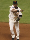 Texas Rangers v San Francisco Giants, Game 1: Edgar Renteria Photographic Print by Justin Sullivan