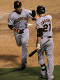 San Francisco Giants v Texas Rangers, Game 3: Andres Torres,Freddy Sanchez Photographic Print by Stephen Dunn