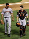 San Francisco Giants v Texas Rangers, Game 4: Madison Bumgarner,Bengie Molina Photographic Print by Ronald Martinez