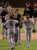 San Francisco Giants v Texas Rangers, Game 4: Brian Wilson,Juan Uribe,Buster Posey Photographic Print by Doug Pensinger