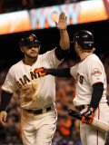 Texas Rangers v San Francisco Giants, Game 2: Cody Ross, Mike Fontenot Photographic Print by Doug Pensinger