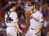 San Francisco Giants v Texas Rangers, Game 4: Madison Bumgarner,Buster Posey Photographic Print by Christian Petersen
