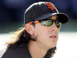 San Francisco Giants v Texas Rangers, Game 3: Tim Lincecum Photographic Print by  Elsa