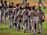 San Francisco Giants v Texas Rangers, Game 4: Andres Torres,Nate Schierholtz,Freddy Sanchez,Edgar R Photographic Print by Doug Pensinger