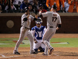 San Francisco Giants v Texas Rangers, Game 4: Aubrey Huff,Andres Torres Photographic Print by Doug Pensinger