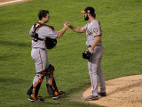 San Francisco Giants v Texas Rangers, Game 4: Buster Posey,Brian Wilson Photographic Print by Stephen Dunn