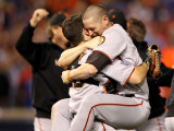 Texas Rangers v. San Francisco Giants, Game 5:  Buster Posey, Aubrey Huff Photographic Print by Ronald Martinez