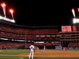 Texas Rangers v. San Francisco Giants, Game 5:  Fireworks are lite off as Nelson Cruz Photographic Print by Ronald Martinez