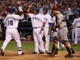 San Francisco Giants v Texas Rangers, Game 3: Mitch Moreland,Bengie Molina Photographic Print by  Elsa