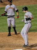 San Francisco Giants v Texas Rangers, Game 4: Buster Posey,Cody Ross Photographic Print by Stephen Dunn
