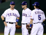 San Francisco Giants v Texas Rangers, Game 4: Elvis Andrus,Michael Young,Ian Kinsler Photographic Print by Christian Petersen