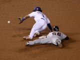 San Francisco Giants v Texas Rangers, Game 4: Andres Torres,Elvis Andrus Photographic Print by Stephen Dunn
