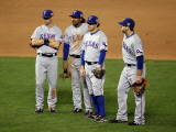 Texas Rangers v San Francisco Giants, Game 2: Michael Young, Ian Kinsler, Elvis Andrus, Mitch Morel Photographic Print by Jed Jacobsohn