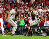 Buster Posey &amp; Brian Wilson Celebrate winning the 2010 NLCS Photo