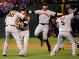 Texas Rangers v. San Francisco Giants, Game 5:  Giants Celebrate 3-1 Victory Photographic Print by Ronald Martinez
