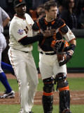 Texas Rangers v San Francisco Giants, Game 2: Guillermo Mota, Buster Posey Photographic Print by  Elsa