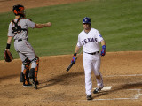 San Francisco Giants v Texas Rangers, Game 4: Michael Young,Buster Posey Photographic Print by Stephen Dunn