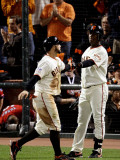 Texas Rangers v San Francisco Giants, Game 2: Cody Ross, Edgar Renteria Photographic Print by  Elsa