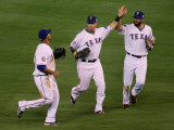 San Francisco Giants v Texas Rangers, Game 3: Nelson Cruz,Josh Hamilton,Jeff Francoeur Photographic Print by Stephen Dunn