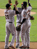 San Francisco Giants v Texas Rangers, Game 4: Freddy Sanchez,Edgar Renteria,Juan Uribe Photographic Print by Doug Pensinger