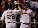 San Francisco Giants v Texas Rangers, Game 4: Buster Posey,Cody Ross Photographic Print by Christian Petersen