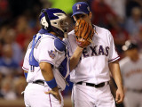 Texas Rangers v. San Francisco Giants, Game 5:  (L-R) Bengie Molina and Cliff Lee Photographic Print by Ronald Martinez