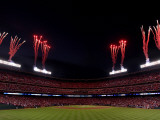 Texas Rangers v. San Francisco Giants, Game 5:  Fireworks explode over Rangers Ballpark Photographic Print by Christian Petersen