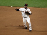 Texas Rangers v San Francisco Giants, Game 2: Juan Uribe Photographic Print by Jed Jacobsohn