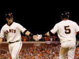 Texas Rangers v San Francisco Giants, Game 2: Buster Posey, Juan Uribe Photographic Print by Doug Pensinger