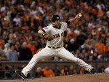 Texas Rangers v San Francisco Giants, Game 2: Javier Lopez Photographic Print by Justin Sullivan